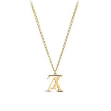 Top Sale Louis Vuitton Male Necklace Upside Down LV Logo Pendant Price List Online Yellow Gold/Rose Gold/White Gold