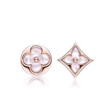 Top Sale Louis Vuitton Color Blossom White MOP Sun & Star Monogram Flower Pattern Women Rose Gold Asymmetric Stud Earrings Oline