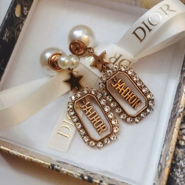 Most Luxury Christian Dior J'ADIOR Rectangular Hollowed-out Pendant Diamonds Edging Women White Pearl Earrings UK