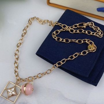 Replica Women's High End Louis Vuitton Color Blossom Pink Opal Stone White MOP Cutwork Square Pendant Yellow Gold Necklace