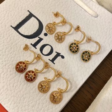 Replica Dior Rose Des Vents Eight-pointed Star Yellow Gold Women Diamond Earrings MOP/Malachite/Cornelian