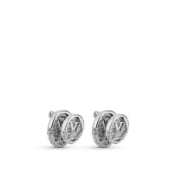 2021 Unisex Fashion Louis Vuitton LV Logo Pattern White Gold Paved Diamonds Stud Earrings For Sale Online