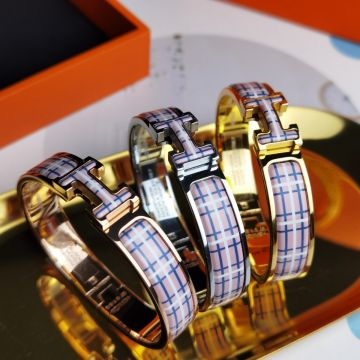 2021 Fashion Hermes Clic H Tartan Pattern Females Enamel Pink/Blue Bangle Sale Online Silver/Yellow Gold/Rose Gold