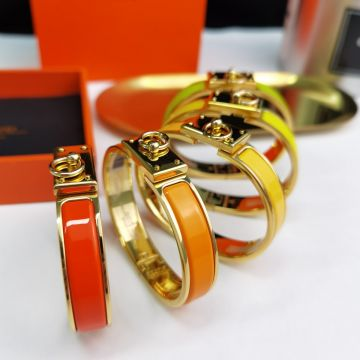 High Quality Hermes Collier De Chien Collar Charm Fashion Yellow Gold Plated Fake Enamel Bangle For Ladies
