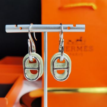Hermes Celebrity Same O'Maillon Anchor Chain Pendant Design Leather And 316 Steel Women Earrings Silver/Yellow Gold