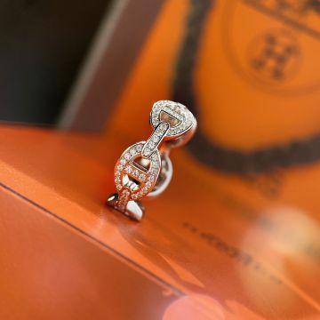 Best Price Hermes Chaine d'Ancre Enchainee Paved Diamonds Anchor Chain Motif  Females 925 Sterling Silver Hollow Ring