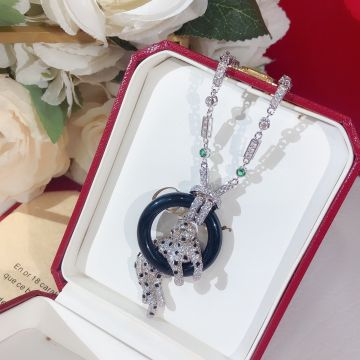 Cartier Panthère de Cartier Black Onyx Circle Pendant Diamonds Link Womens Silver Necklace