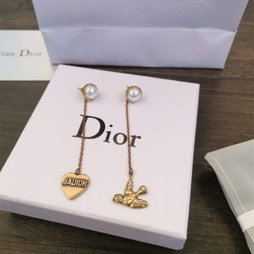 Spring Latest Dior J'Adior Classic Brass White Detail Asymmetric Swallow Heart Pendants Long Tassel Earrings For Ladies