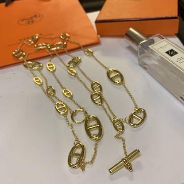 Morden Style Hermes Farandole Anchor Chain Detail Female Long Chain Necklace Silver/Yellow Gold Plated