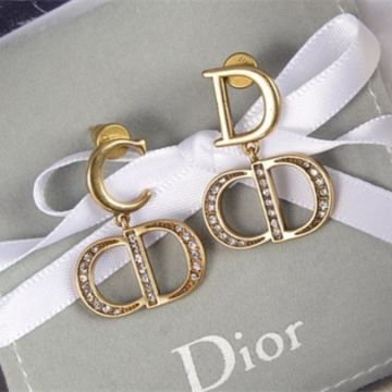 Latest Christian Dior CD Logo Initial Pendant Antique Brass Metal Females Diamonds Drop Earrings For Sale Online Replica