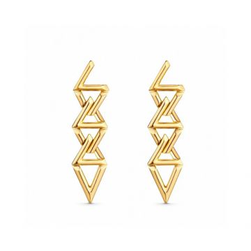 Replica Louis Vuitton LV Volt Curb Chain 18K Gold Interlocking LV Shaped Pendant Drop Earrings For Ladies Q96971Price List