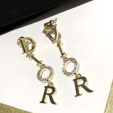2021 New Style Christian Dior Dangle Logo Diamonds Pendant Women Yellow Gold Plated Long Tassel Earrings Replica