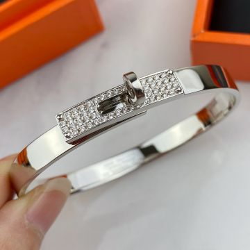 High End Hermes Kelly Diamonds Turn Buckle Women Bangle High Quality Jewellery For Girls Silver/Yellow Gold/Rose Gold