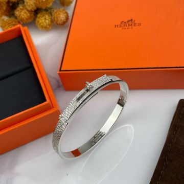 Best Price Hermes Kelly Turn Clasp Motif  Fully-diamonds Bangle Females Fashion Bracelet Silver/Yellow Gold/Rose Gold