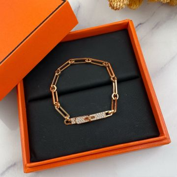 Replica Hermes Kelly Paved Diamonds Buckle Thick Chain Women Luxury Bracelet For Sale Canada Silver/Yellow Gold/Rose Gold
