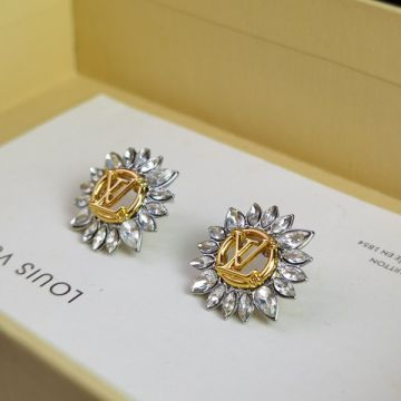 Replica Unisex Louis Vuitton Starlight White Crystal Charm Yellow Gold LV Circle Popular Two-tone Earrings High End Jewellery