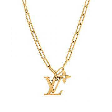 2021 Spring-summer Louis Vuitton LV Flower LV Initials Pendant Brass Thick Link Necklace For Men MP2890 Replica Rose Gold Jewellery