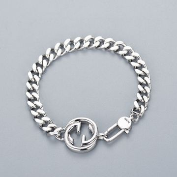 Replica Gucci Hot Selling Interlocking G Double G Charm 925 Sterling Silver Wide Link Chain Bracelet For Men UK