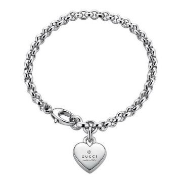 Simple Style Gucci Double G Design Solid Sterling Silver Star/Heart Pendant Link Chain Bracelet For Ladies Price HK