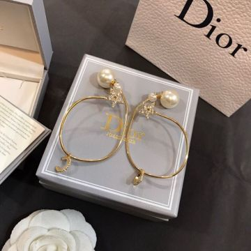 Christin Dior 2021 Latest Classic Paved Diamonds Star White Pearl Yellow Gold Plated Circle Pendant Earrings For Girls