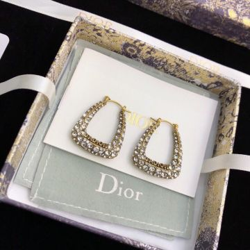 Dior Morden Style J'ADIOR Paved White Crystal Logo Detail Aged Gold Hoop Earrings E1440ADRCY_D908 Women Fashion Jewellery