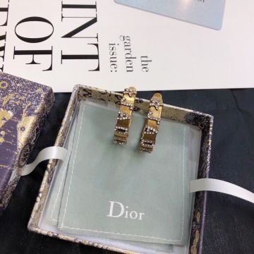 Replica Spring Hot Selling Dior J'ADIOR Star & JADIOR Diamonds Motif Antiqure Brass Wide Hoop Earrings For Ladies