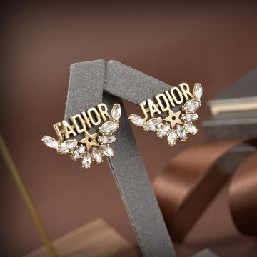 Christian Dior Best Dior J'ADIOR Brass Motif Star Detail Water Droplets Diamonds Stud Earrings For Ladies