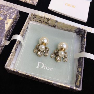 Dior Water Drop Diamond Inlay Gold -tone Female White Pearl Earrings Fashion New Style Jewellery Online