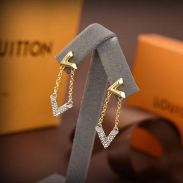 Replica Fashion Louis Vuitton LV Volt Silver V-shaped Paved Diamonds Pendant 18K Yellow Gold Inverted V Charm Two-tone Chain Drop Earrings For Ladies Q96973