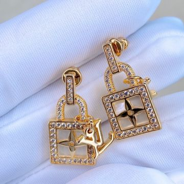 Louis Vuitton B Blossom White MOP & Monogram Flower Padlock Pendant Female Yellow Gold Diamonds Earrings Price UK