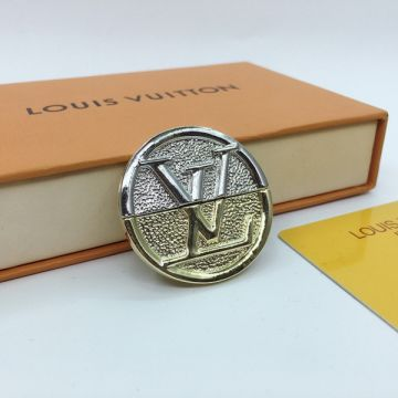 Hot Selling Louis Vuitton L TO V LV Logo Pattern Silver -Yellow Gold Two-tone Round Brooch For Men Price Malaysia