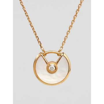 Fashion Amulette De Cartier Diamonds & Opal Model Pendant Womens Yellow Gold Necklace Black/Red/White