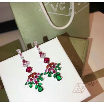 2018 New Style Van Cleef & Arpel Ruby Emerald Paved Womens Diamonds Drop Earrings For Discount