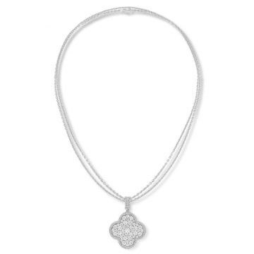 Replica Women's Top Sale Van Cleef & Arpels Magic Alhambra Sterling Silver 1 Motif Paved Diamonds Double Chains Long Necklace VCARO49O00