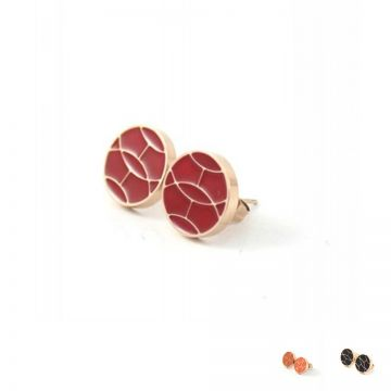 Hermes Women Red/Orange/Black Enamel Leopard Pattern Round Earrings Rose Gold-plated For Sale Malaysia