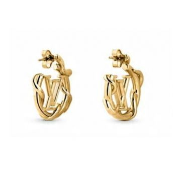 Replica Louis Vuitton Garden Louise LV Logo Motif Yellow Gold Interlaced Circle Hoop Earrings For Ladies Online M68938