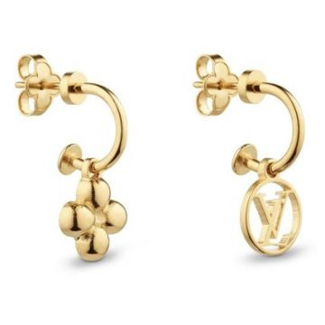 Hot Selling Louis Vuitton Blossom Asymmetric Flower & LV Circle Pendant Yellow Gold Fake Earrings For Ladies M64859