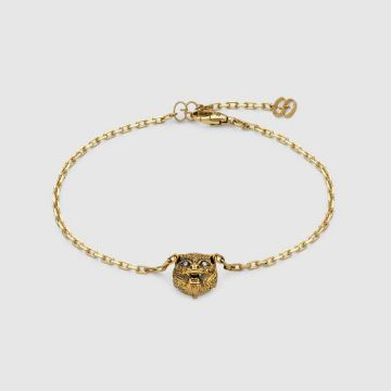 2021 Latest Gucci Le Marche Des Merveilles Black Onyx Feline Head Motif Women Diamond Chain Bracelet 502852 J85L0 8093