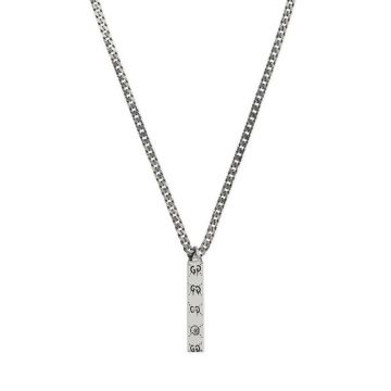 Gucci Ghost High End Sterling Silver GG Logo Pattern Bar Motif Pendant Bead Chain Link Chain Necklace For Ladies UK