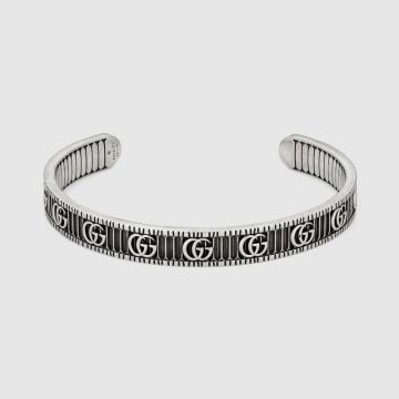 Replica Gucci Double G Aged Sterling Silver Striped Charm Women Cuff Bangle High End Jewellery 551903 J8400 0811