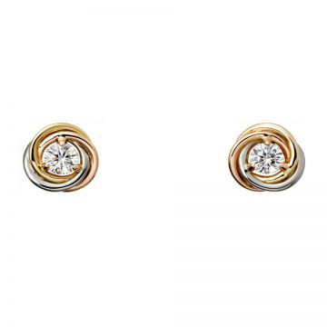 Trinity De Cartier Ladies' Tri-color Ear-stud Adorned Crystal Reviews Singapore Price List B8045300