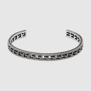 Gucci Top Sale Cutwork Square G Arabesque Pattern Motif Aged Silver Opening Bangle For Men UK 576990 J8400 0811