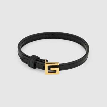 2021 Spring & Summer Gucci High End Black Leather Square G Buckle Women Bracelet  Silver/Yellow Gold 623238 J1745 8029/623237 J1784 8162
