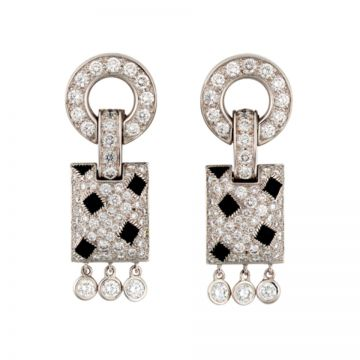 Luxury Panthere De Cartier Silver Crystals & Onyx Studded Tassel Drop Earrings Fashion Party Online Malaysia Lady N8026700