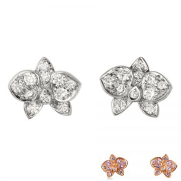 Dupe Caresse D'orchidees Par Cartier Pink/White Gold-plated Flower Design Diamonds Earrings Valentine Gift Girlfriend Sale B8044600/B8043800