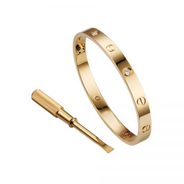 Fake Cartier Love Studded Four Diamonds Bangle Celebrities Gold-plated Sydney Women Men Screw Motif B6035917