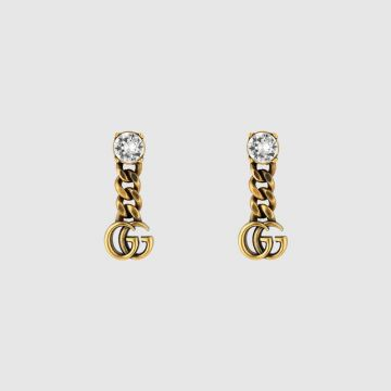 Replica Hot Selling Gucci Double G Pendant Classic Brass Single Crystal Thick Link Female Drop Earrings Price List ‎645683 J1D50 8062