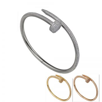 Cartier Juste Un Clou Paved Crystals White/Rose/Yellow Gold Nail Design Bangle Sale Unisex Beckham Brooklyn Style N6707317/N6709817/N6702117
