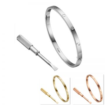 Cartier Love Unisex Narrow Bangle Rose/White/Yellow Gold-plated Screw Motif For Sale UK Review B6047517/B6047317/B6047417