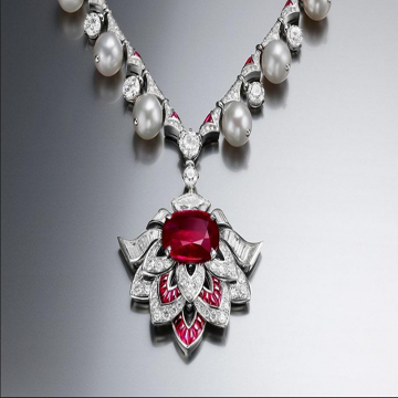 Womens Luxury Bvlgari Festa Collection Jewellery Pearl Charming Red Crystal Studded Diamonds Earring & Necklace Set